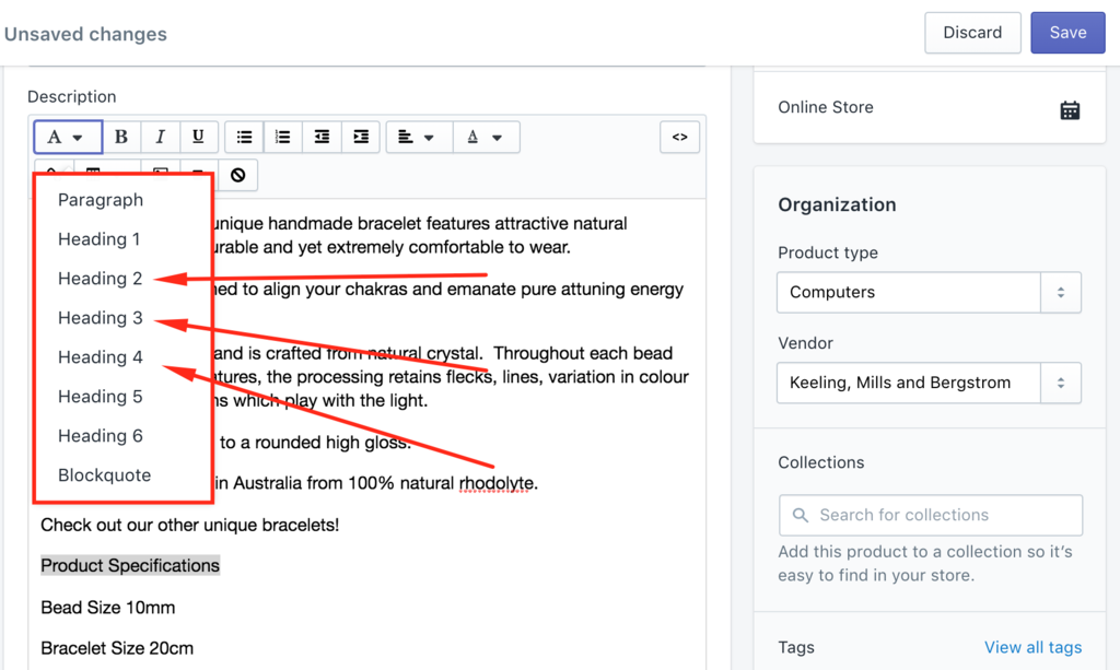 Fix Shopify headings using the rich text editor formatting