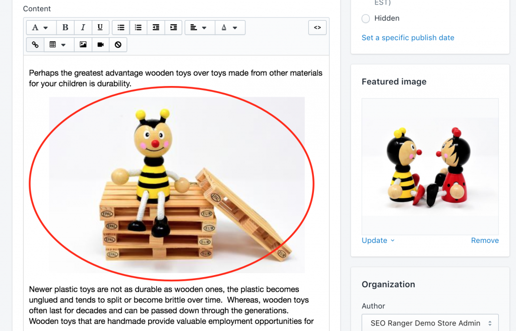 Shopify fix image alt text on blog posts find image to edit