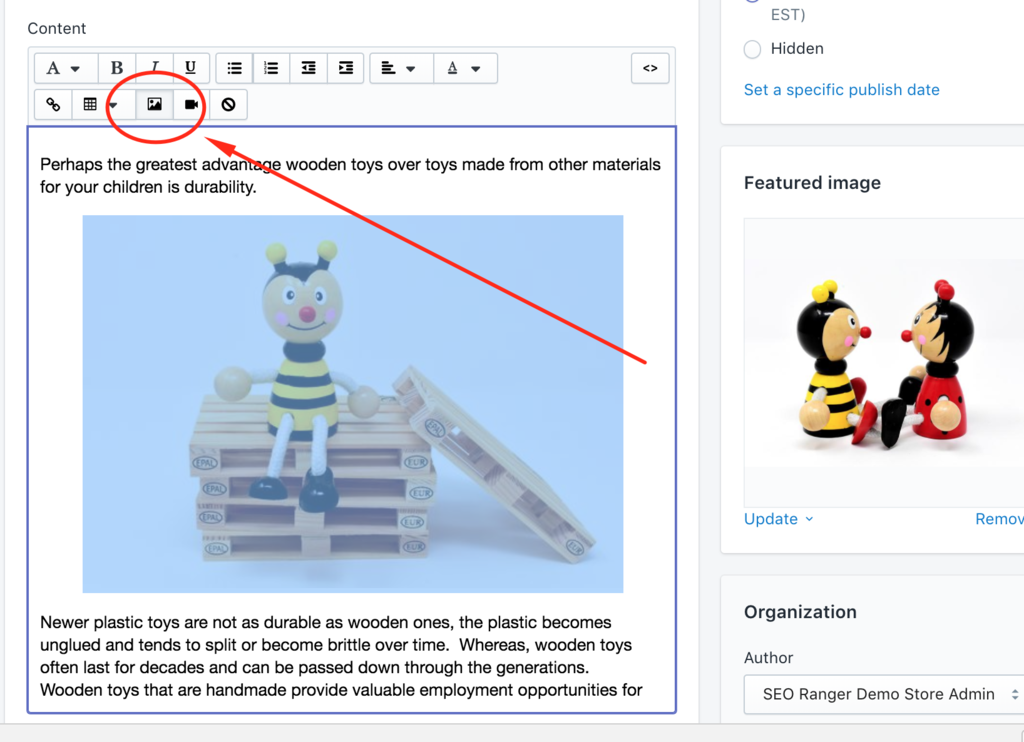 Shopify fix image alt text on blog posts image icon select
