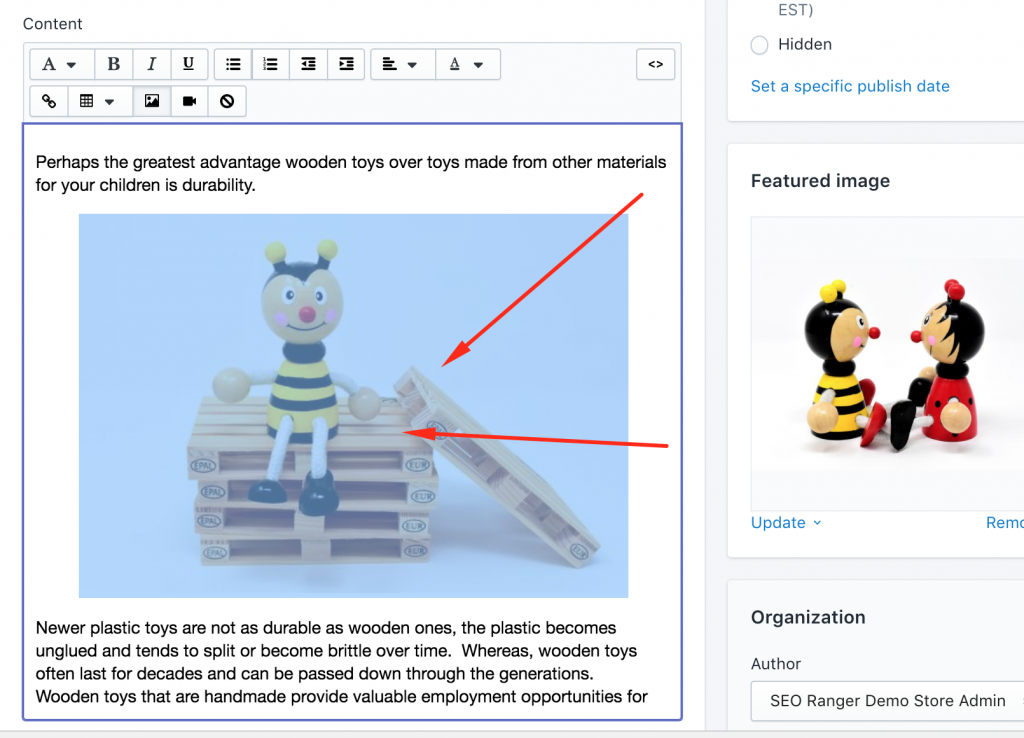 Shopify fix image alt text on blog posts selecting images