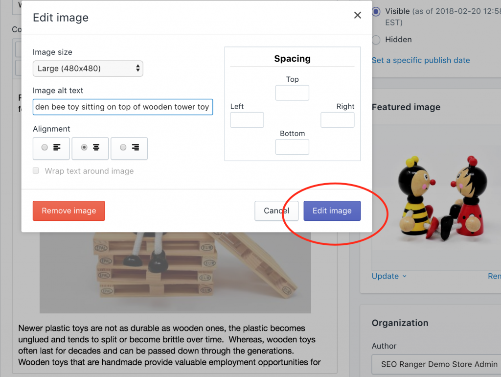 Shopify fix image alt text on blog posts save edit image